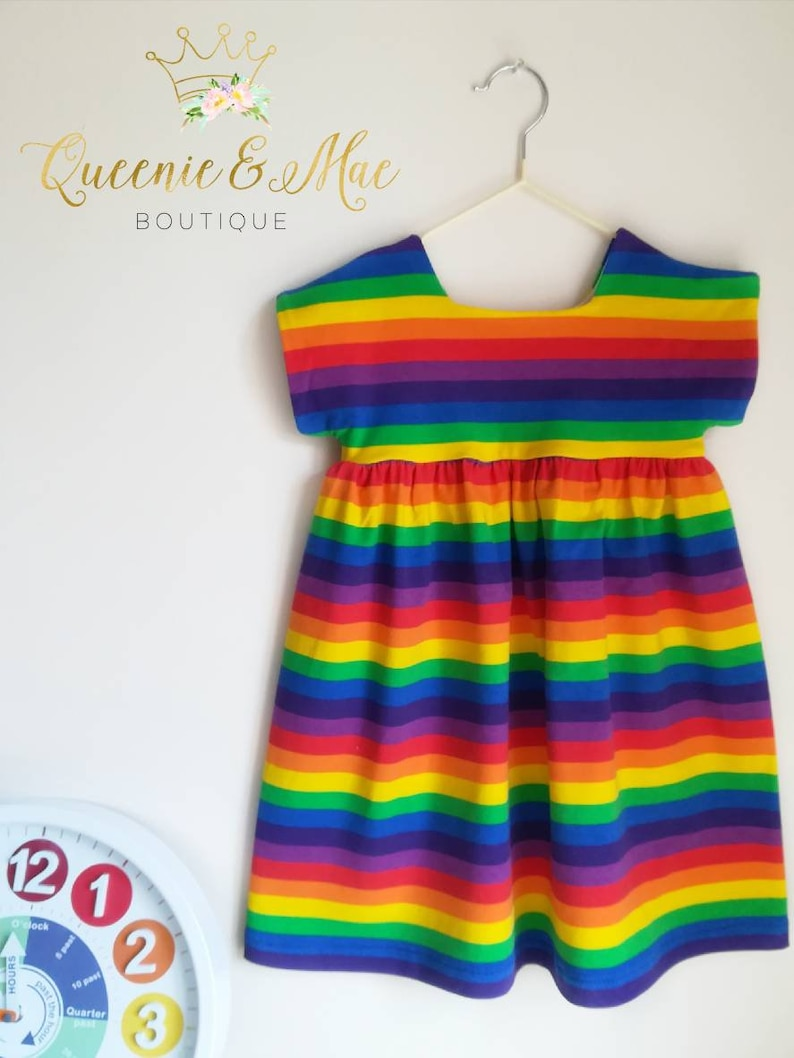ac7406992d766 Queenie and Mae ~ 3-4yrs Girls Rainbow Summer Dress in Cotton Jersey. Knee  length/ Festival /Pride