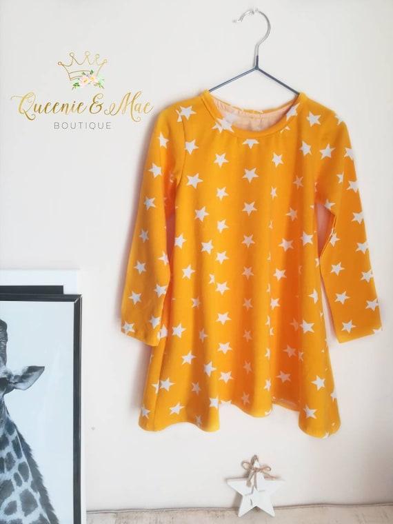 6b227b77253ff Queenie and Mae ~ Girls T Shirt Dress/Summer/ Spring Yellow/ Stars/ Jersey  Dress/ 3-4yrs/Festival