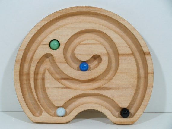 Labyrinthe en bois avec des marbres (boule de verre) «Éléphant»