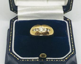 18k gold 5 stone diamond ring