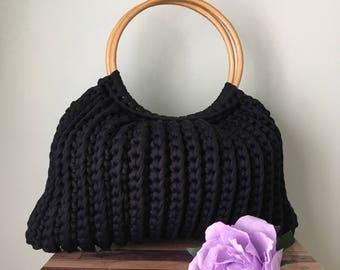 Handmade crochet bag with wooden handles