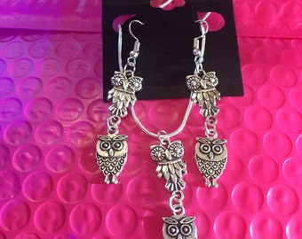 Owl earrings and necklace set