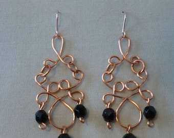 Wirework copper chandelier dangle earrings with  a choice of beads