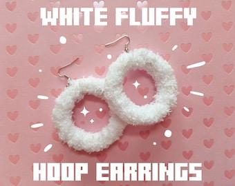 White Fluffy Hoop Earrings
