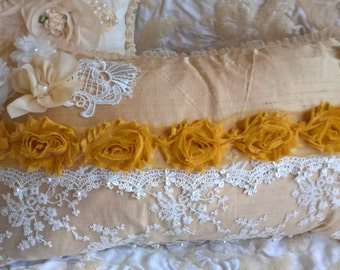 Gold, cream and  champagne silk handcrafted vintage & shabby chic silk and lace boudoir cushion/ pillow