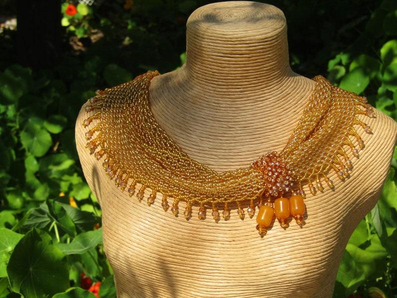 Necklace,Bakelite Beads Golden Very Sparking Delicate Handmade Jewel Scarf Beaded Shawl