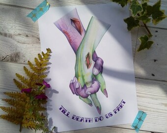 Wedding gift|Wall art|Art print|Anniversary gift|Zombie|Horror|Zombie print|Love|Romantic|Walking dead|Purple|Green