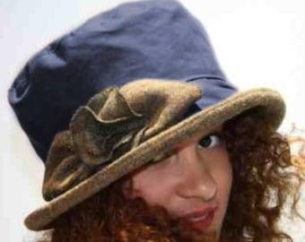 ff0ede2e5e7 1970s Brown Waterproof Waxed Hat Winter Fashion Rain Hat with
