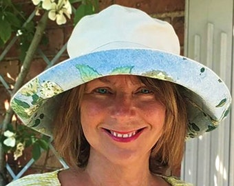 Washable and Packable for Easy Travel Cool Cream 100/% Cotton Sun Hat with Soft Wide Brim /& Blue Paisley Ribbon Trim Fits Small Heads Too!