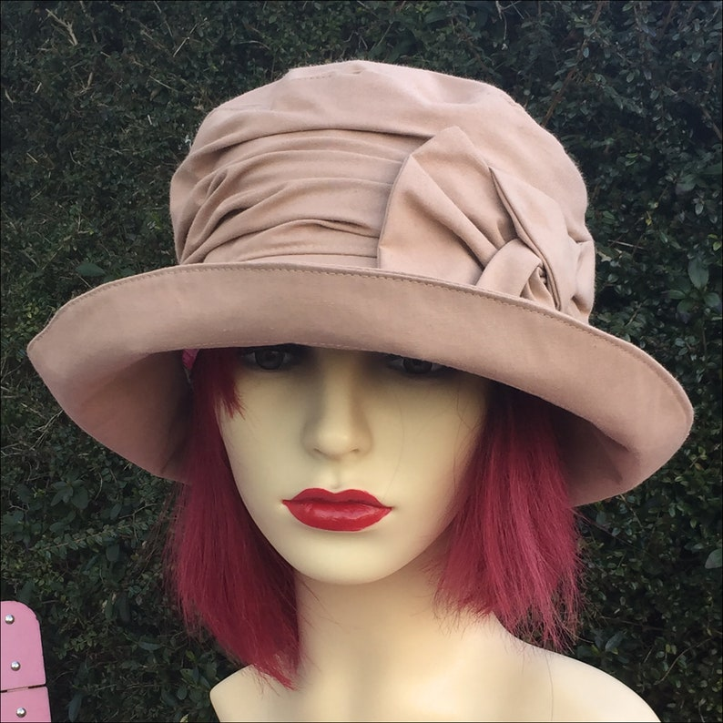 1920s Accessories: Feather Boas, Cigarette Holders, Flasks Downton Abbey Style 1920s Summer Hat Vintage Style for Women Handmade in England from Salmon Pink Cotton Large Brim for Sunshine Shade $82.66 AT vintagedancer.com