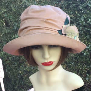 1920s Accessories: Feather Boas, Cigarette Holders, Flasks English Romance Summer Downton Abbey Hat Style for Ladies in Flattering Salmon Pink $79.53 AT vintagedancer.com