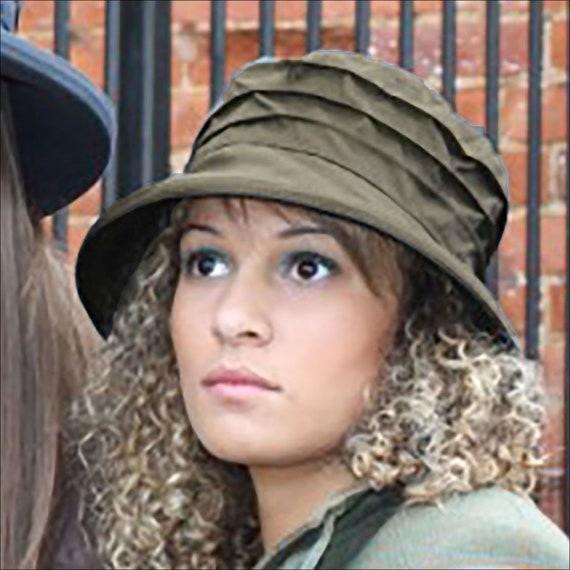 Barbour Green Women s Waxed Rain Hat Practical   Stylish  d118a6e25b4