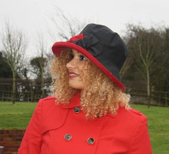 acbedfcd8f8 Black   Scarlet Red Waxed Rainhat Glamorous Rainproof Winter
