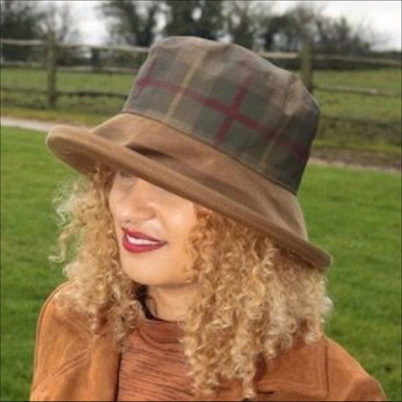 7fc1084e4ad Big Brim Waxed Rain Hat Women Waterproof Wide Brimmed Rainhat