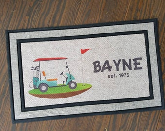 Customized Front Welcome Doormat Golf Cart Last Name (Personalized)