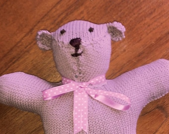 beautiful hand knitted teddy bear soft toy