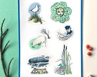 Sticker Set Northern Souvenirs. maritime. seagulls. original art