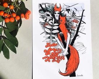 Squirrel Ghosts. Art Print. Original Illustration