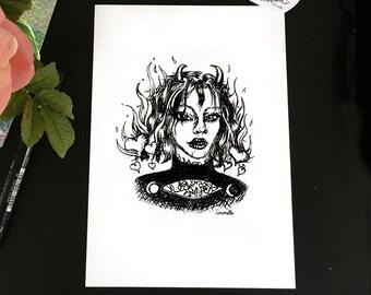 Fire Cat. Original Art. Print. Halloween.A5
