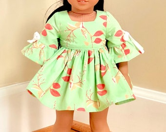 """Light Green 18"""" Doll Dress with Coral Accents"""