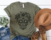 Day Of The Dead Fashion - Sugar Skull Flower Crown - Halloween Costume - Dia De Los Muertos - Fall Shirt - Unisex Graphic Tee