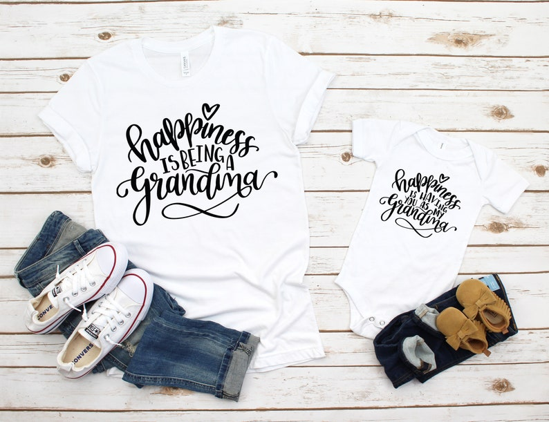 New Grandma Gift Grandma /& Me Shirts Happiness Is Being Having A Grandma Matching Outfits Grandma and Baby Unisex Graphic Tee