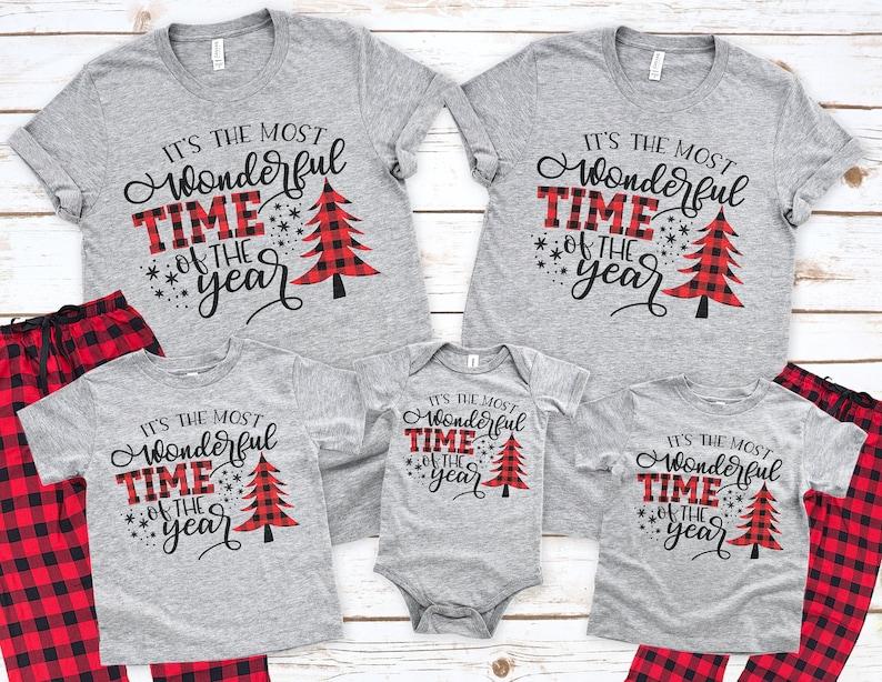 It/'s The Most Wonderful Time Of Year Family Holiday Tees Christmas Tree Buffalo Plaid Shirt /& Pant Matching Family Christmas Pajamas
