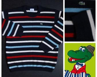 Vintage Lacoste sweater,stripes,black,red,white,blue, size M size L
