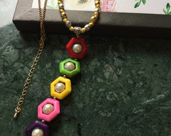 Rainbow Necklace, Howlite Gemstones, Pearls, Mother's Day Gift.