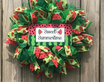 Watermelon wreath, spring wreath, summer wreath, deco mesh wreath, watermelon ribbon, spring deco mesh wreath,Mother's Day wreath