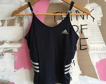 d14baa89942 vintage women s ADIDAS navy cropped top