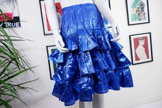 super, vintage, women's sparkling skirt, blue colo