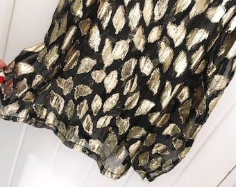 80s Amazing Vintage Top | Sheer | Gold and Black Summer Top | Size M | Leaves Pattern | Floral Pattern | Summer Top For Women |