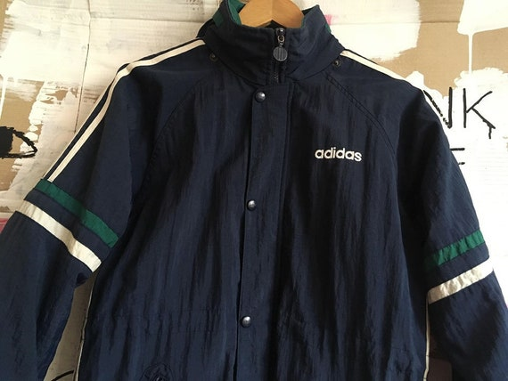 super, original, women's, vintage ADIDAS windbreaker, 80s clothing, jacket, hoodie, navy, green, white, size SM, with pockets