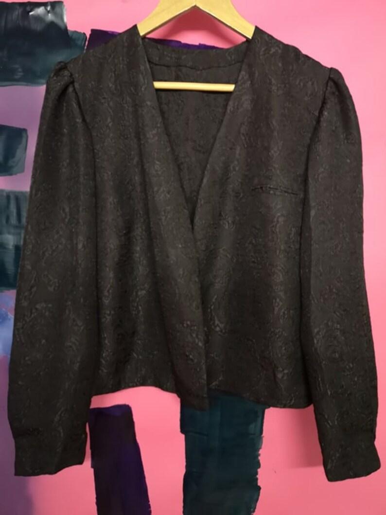 floral pattern dress jacket party L blazer prom women/'s vintage black shrug size large retro woman bolero jacket minimalist