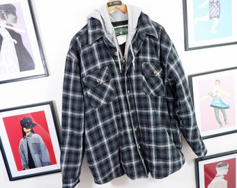 super cool, vintage, men's checked jacket, shirt, black, grey, front zip, buttons, pockets, hoodie, hooded shirt, streetwear, size L, check