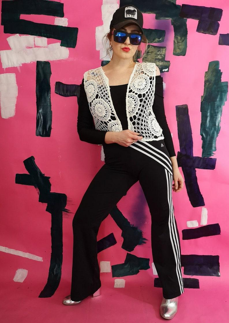 embroider weskit hippie waistcoat vintage size L boho gilet lace open front jerkin beautiful women/'s white vest cropped vests
