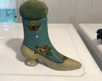 Victorian Boot Pin Cushion vintage