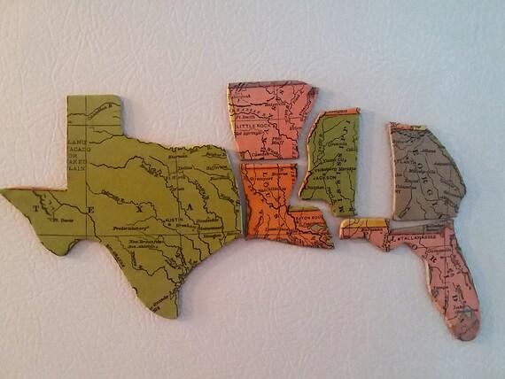 Vintage Milton Bradley US Map Puzzle Piece Magnets South