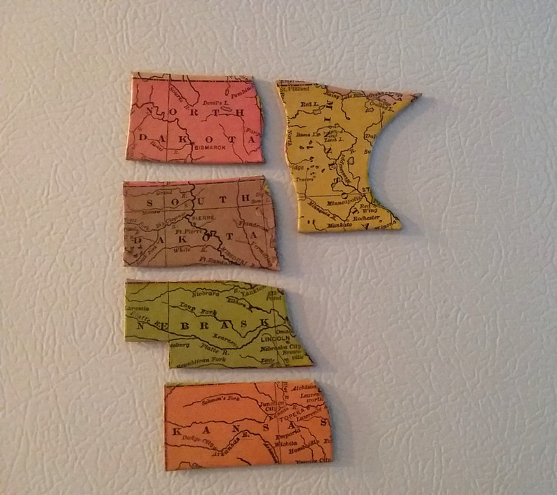 Vintage Milton Bradley US Map Puzzle Piece Magnets | Etsy