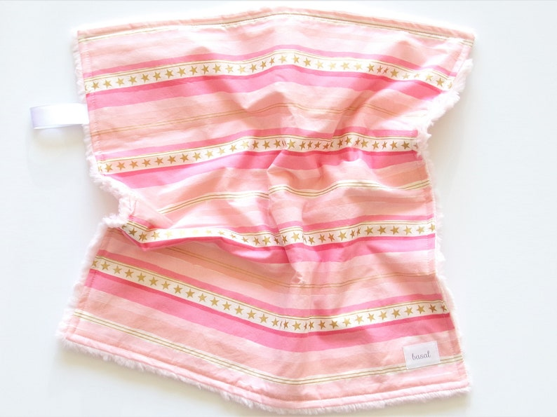 Pink Stripe Security Blanket Faux Fur Pink Blanket Baby Lovey Blanket Modern Baby Blanket Girls Minky Blanket Tag Blanket Ready to Ship
