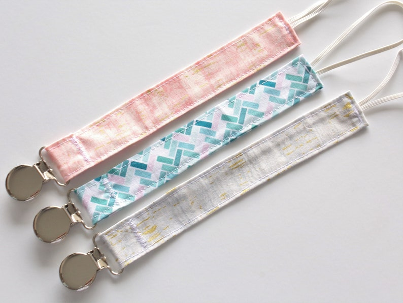 Metallic Baby Girl Grey Pink Dummy Clip Paci Clip Fabric Pacifier Clip You Choose Newborn Turquoise Handmade Soother Clip