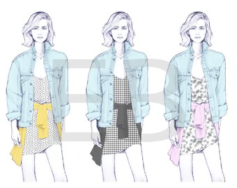 Fashion Illustration Denim Jacket Yellow Etsy