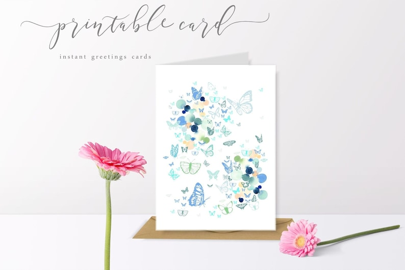 photo about Printable Birthday Cards for Sister named Printable birthday card printable Sister birthday card fast obtain card printable erfly card insect card printable thank oneself card
