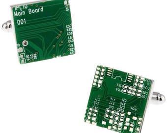 Green Circuit Board Cuff Links