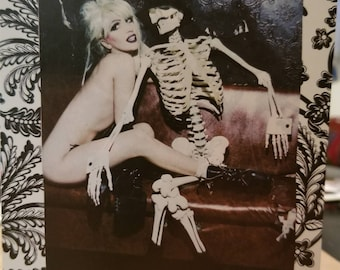 Hand made greeting card for someone who has been ghosted! Lady Gaga with skeleton on front!