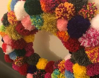 Handmade Pom Pom Wreath- multicoloured