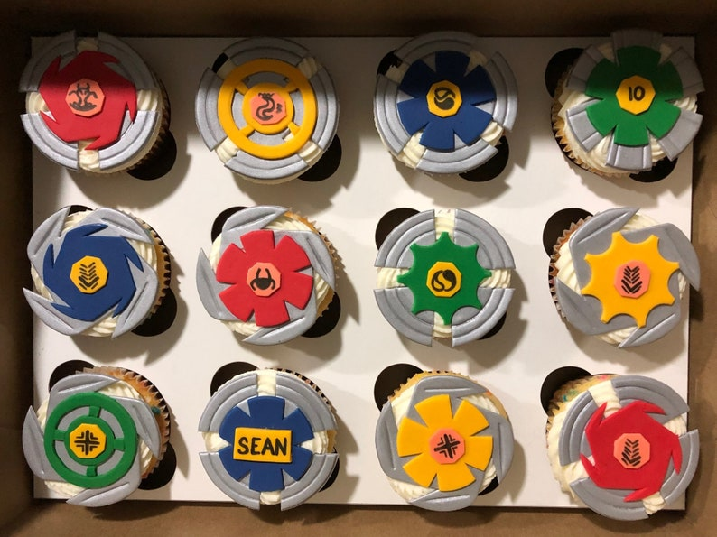 Beyblades Fondant EDIBLE Cupcake Toppers set of 12 | Etsy