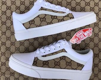 White Brown GG Gucci Old Skool Vans Custom