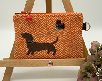 Personalized Embroidered Monogram Dog Lover Dachshund Coin Purse